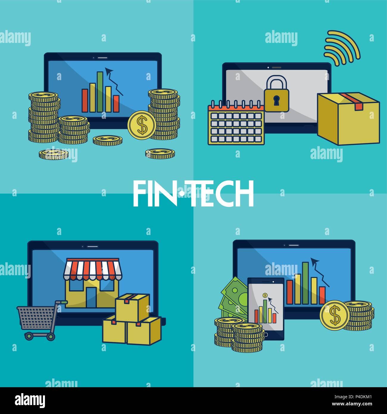 Financial Technology square Frames Stockbild