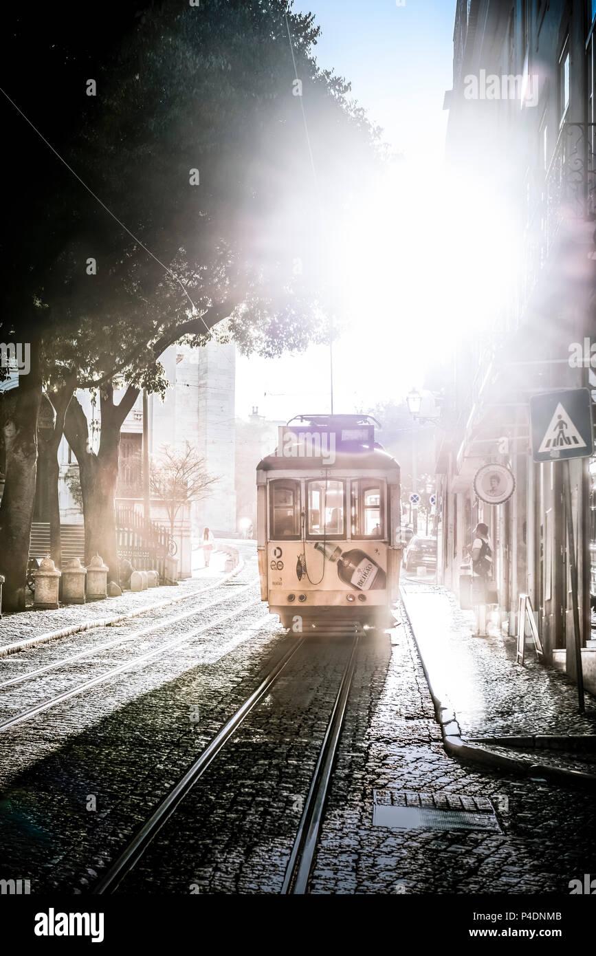 Europa, Portugal, Lissabon, Transport, Tram, Trambahn, Bahnlinie Stockbild