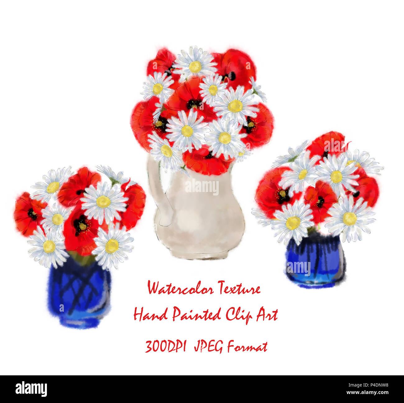Satz von drei Blumenarrangements isoliert auf weißem Hintergrund. Tricolor Daisy und Poppy Blumensträuße in Blau und Weiß Vasen für Clip Art, Karten, Poster. Stockbild