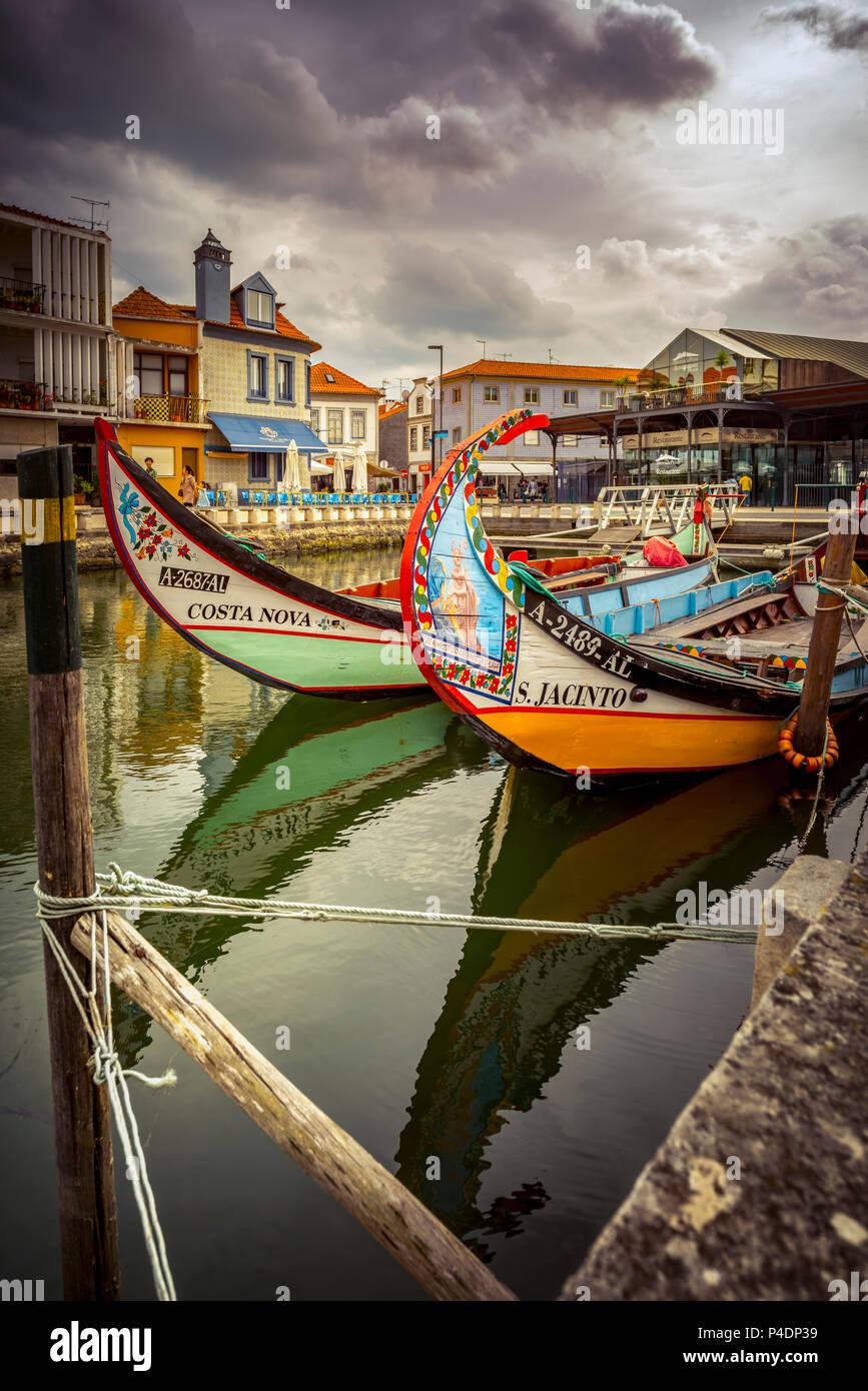 Europa, Portugal, Aveiro, Booten, Moliceiro-Boote Stockbild