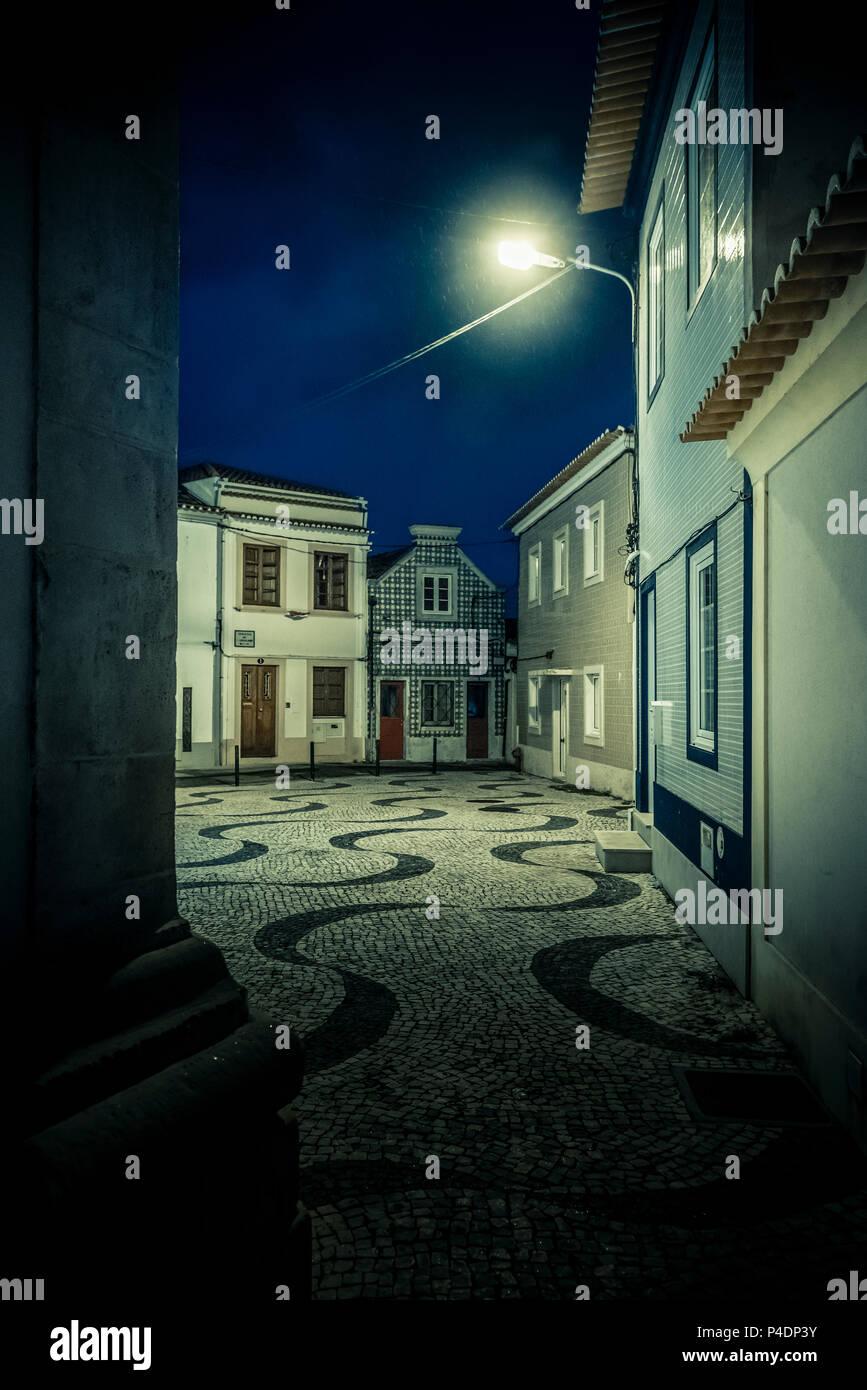 Europa, Portugal, Aveiro, Häuser, Fassade, Platz Stockbild