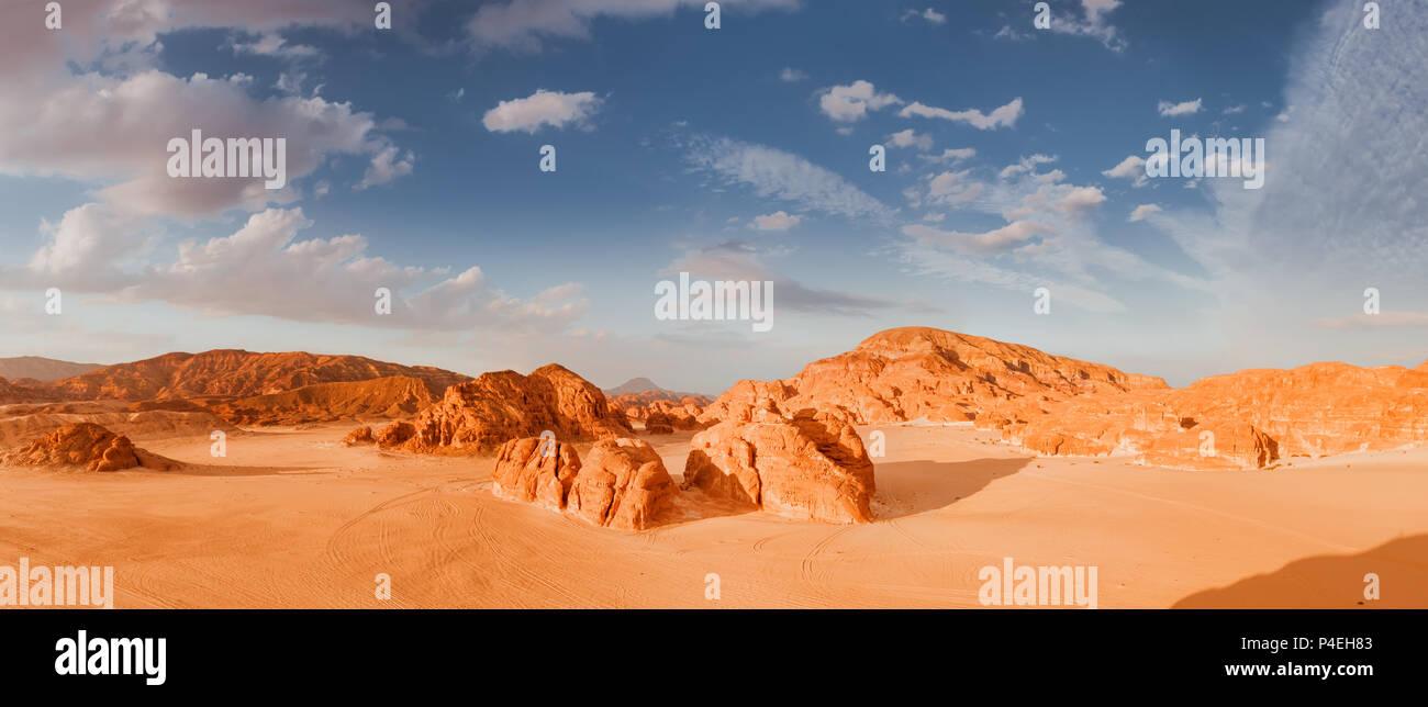 Panorama-Sand der Wüste Sinai, Ägypten, Afrika Stockfoto