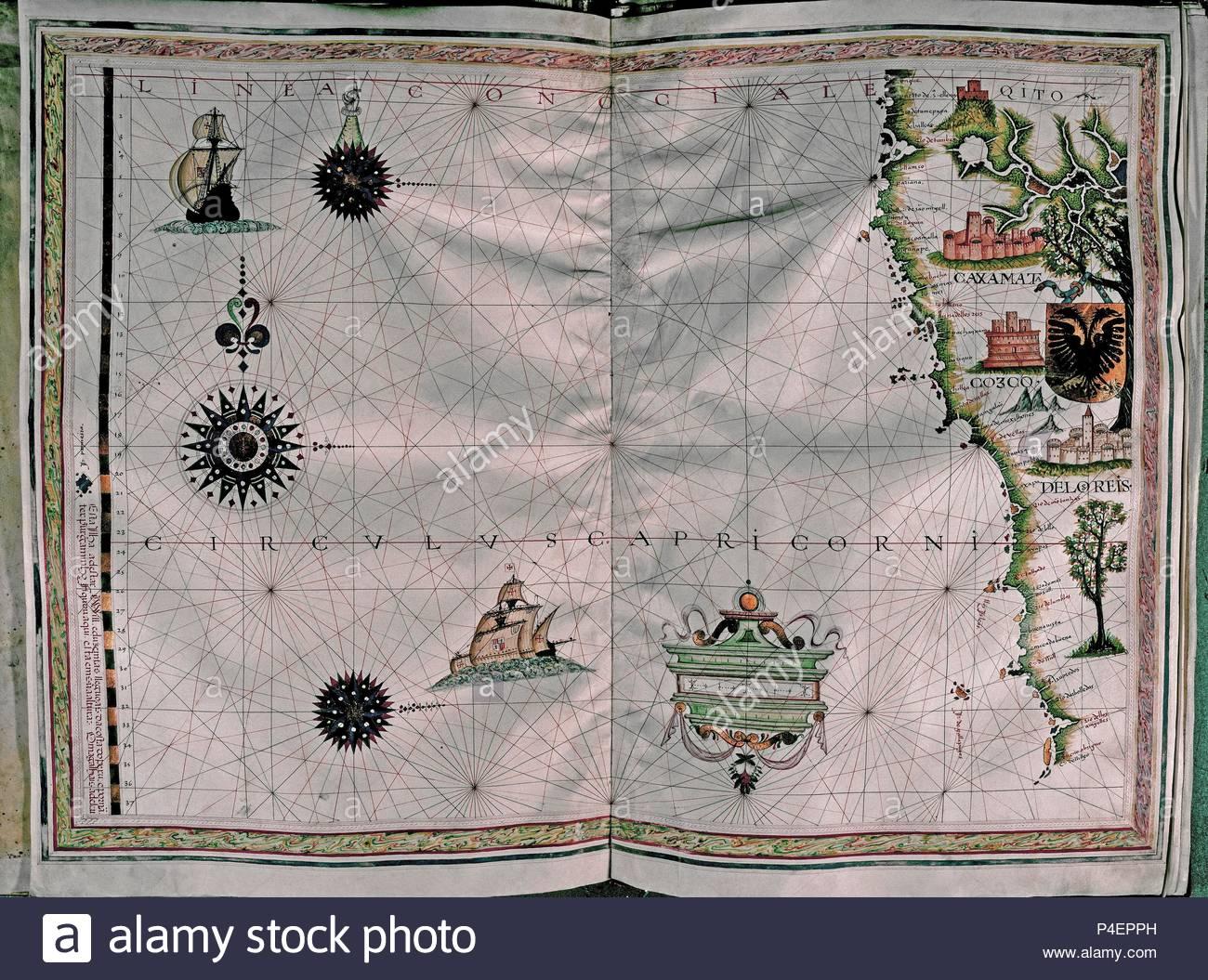 MAPA DE LA COSTA DEL PACIFICO - AMERICA DEL SUR-ATLAS PORTULANO-1568 ...