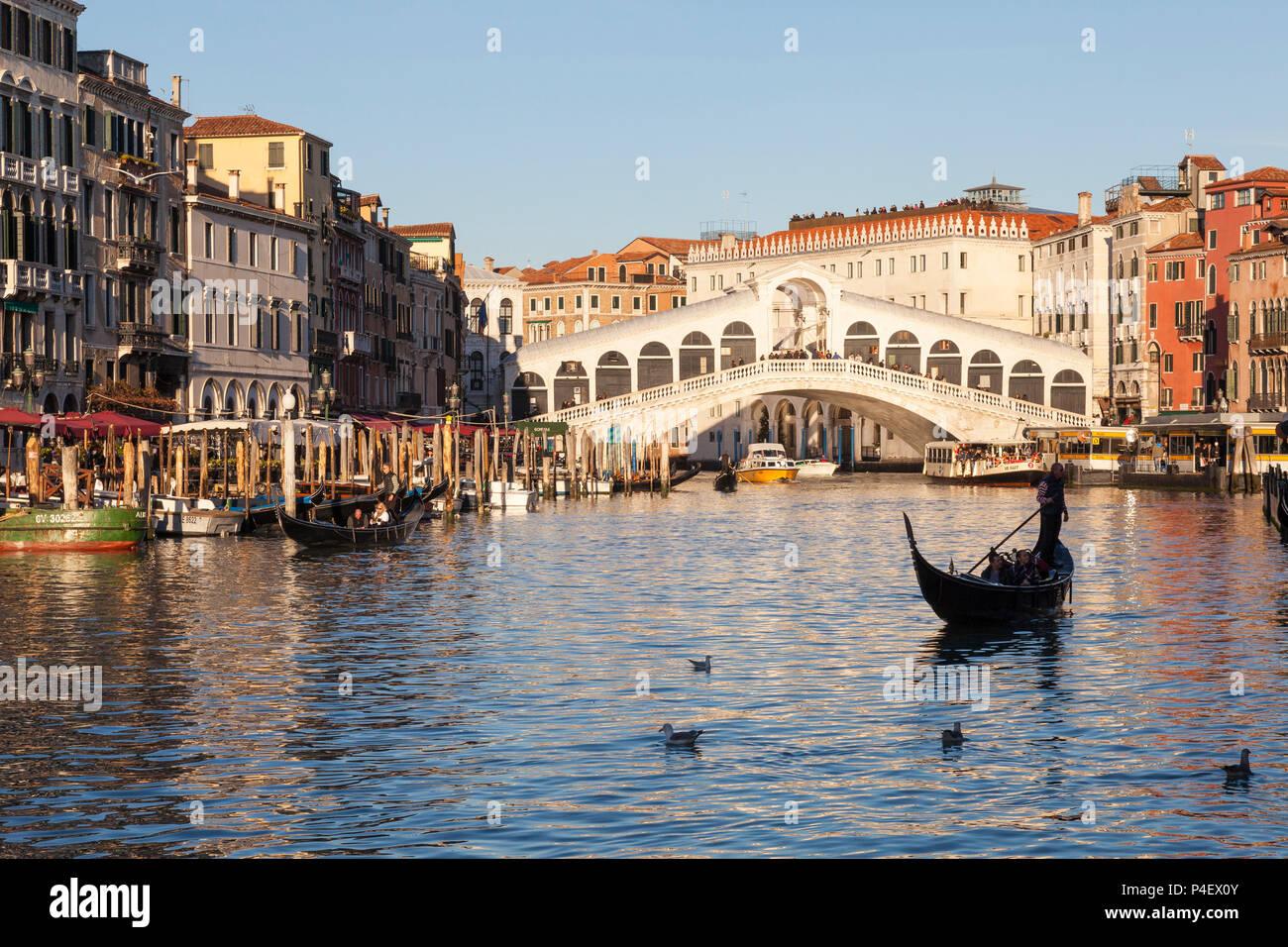 Rialto Brücke bei Sonnenuntergang mit Gondeln und Bootsverkehr, Grand Canal, Venice, Veneto Italien. Goldene Stunde, Möwen ruckartig auf dem Wasser Stockbild
