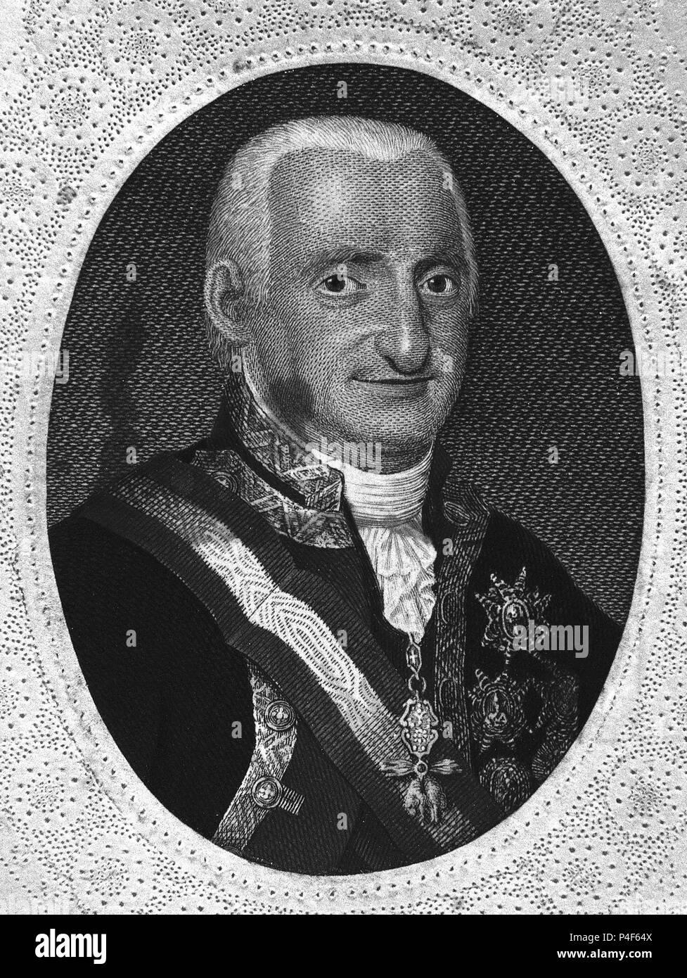 RETRATO DE CARLOS IV REY DE ESPAÑA - GRABADO S XIX. Lage: MUSEO DE ...