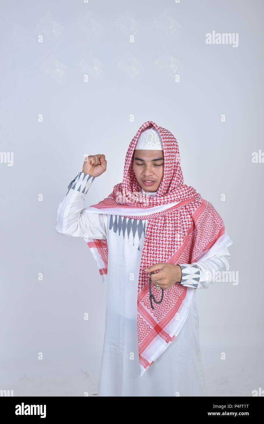 Muslimischen Mann, Gebet, Perlen und Beten Stockbild