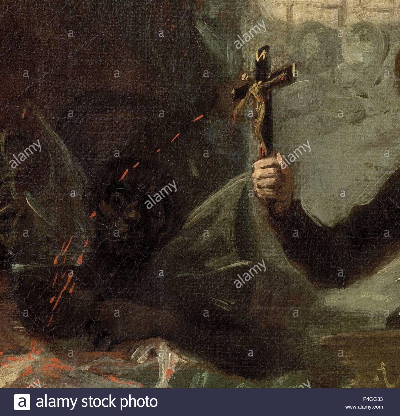 'Saint Francis Borgia helfen einem Sterbenden Unbußfertigen (Detail), 1795,  Öl auf Leinwand. Autor: Francisco de Goya (1746-1828).