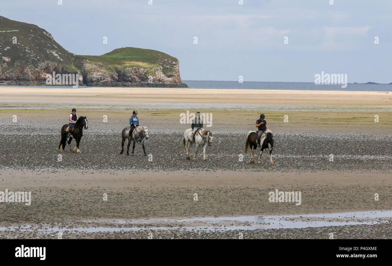 Vier Pferde und Reiter am Strand von Dunfanaghy Grafschaft Donegal Irland Stockbild