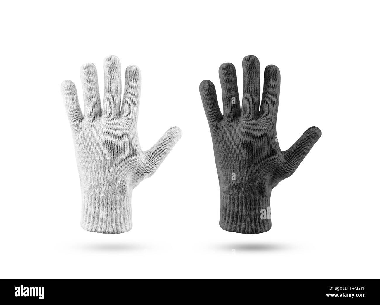 Leer aus Gewirken winter handschuhe Mockup, Schwarz und Weiß. Klar ...