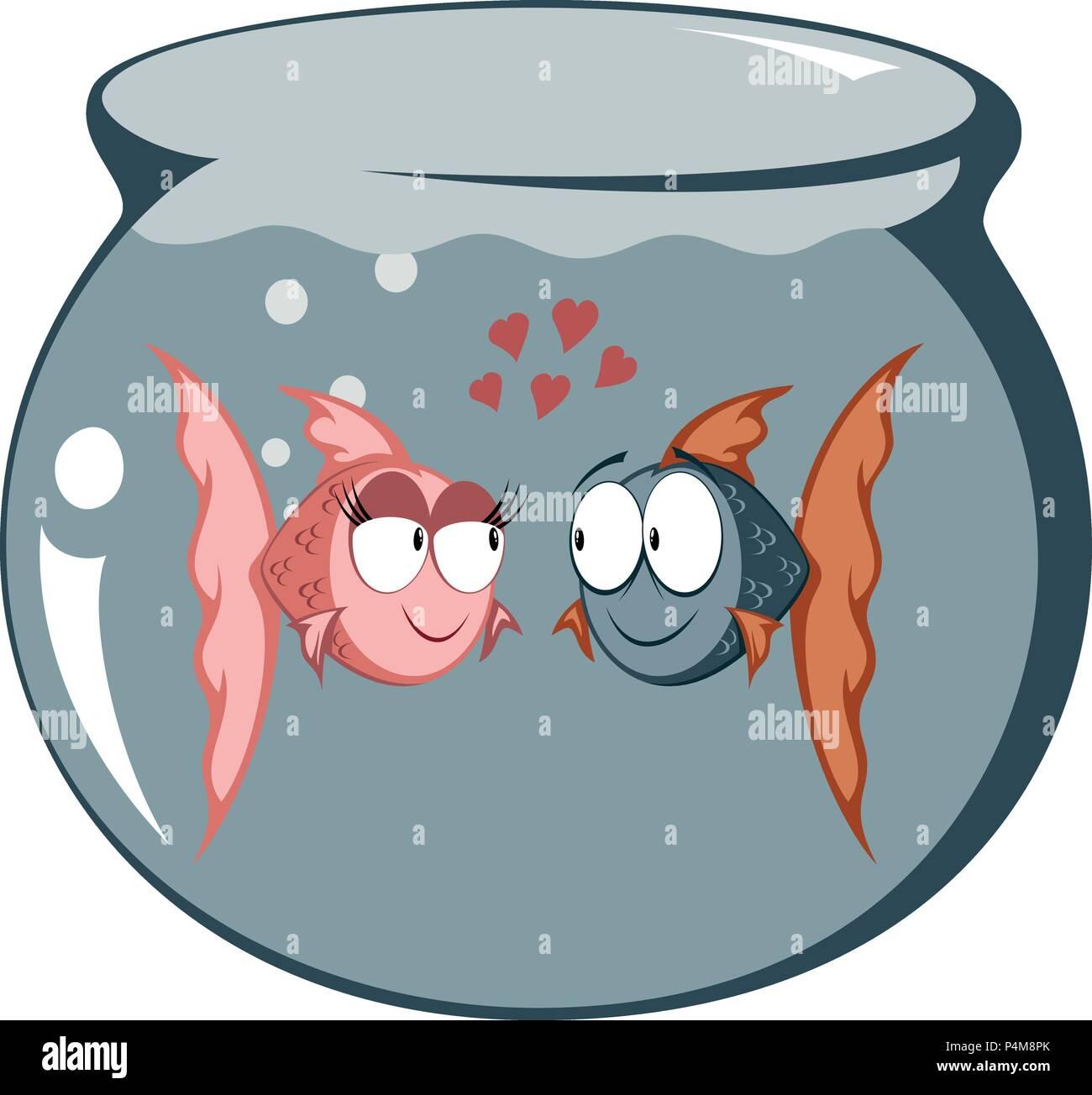 Cool Cartoon Goldfisch Paar In Liebe In A Fish Tank Vektor