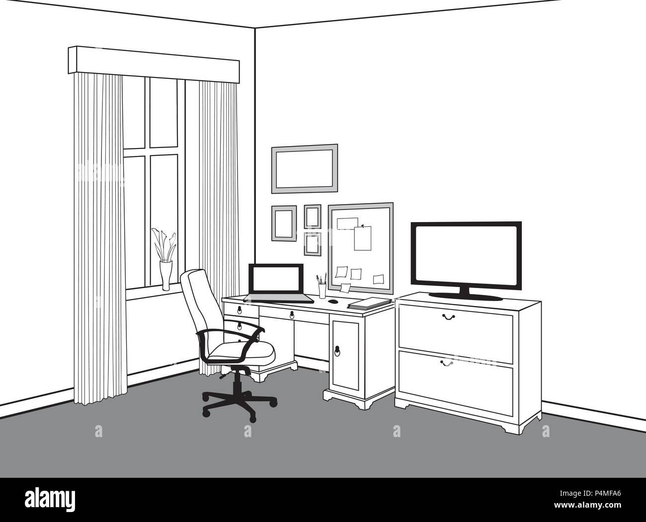 Arbeitsplatz mit Computer. Projektarbeitsbereich anzuzeigen Home ...