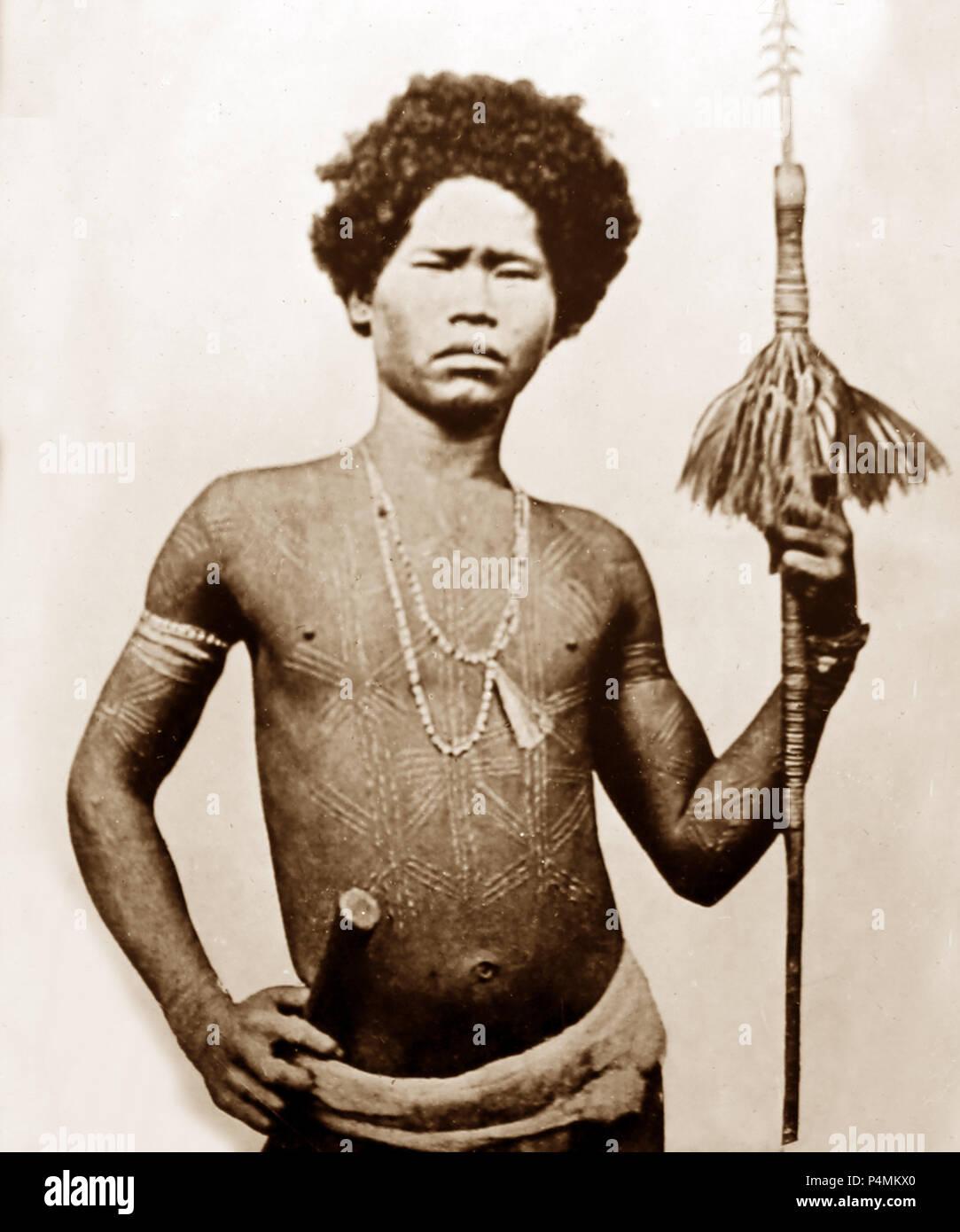 Ein tribal Krieger oder Jäger, Viktorianischen Periode Stockbild