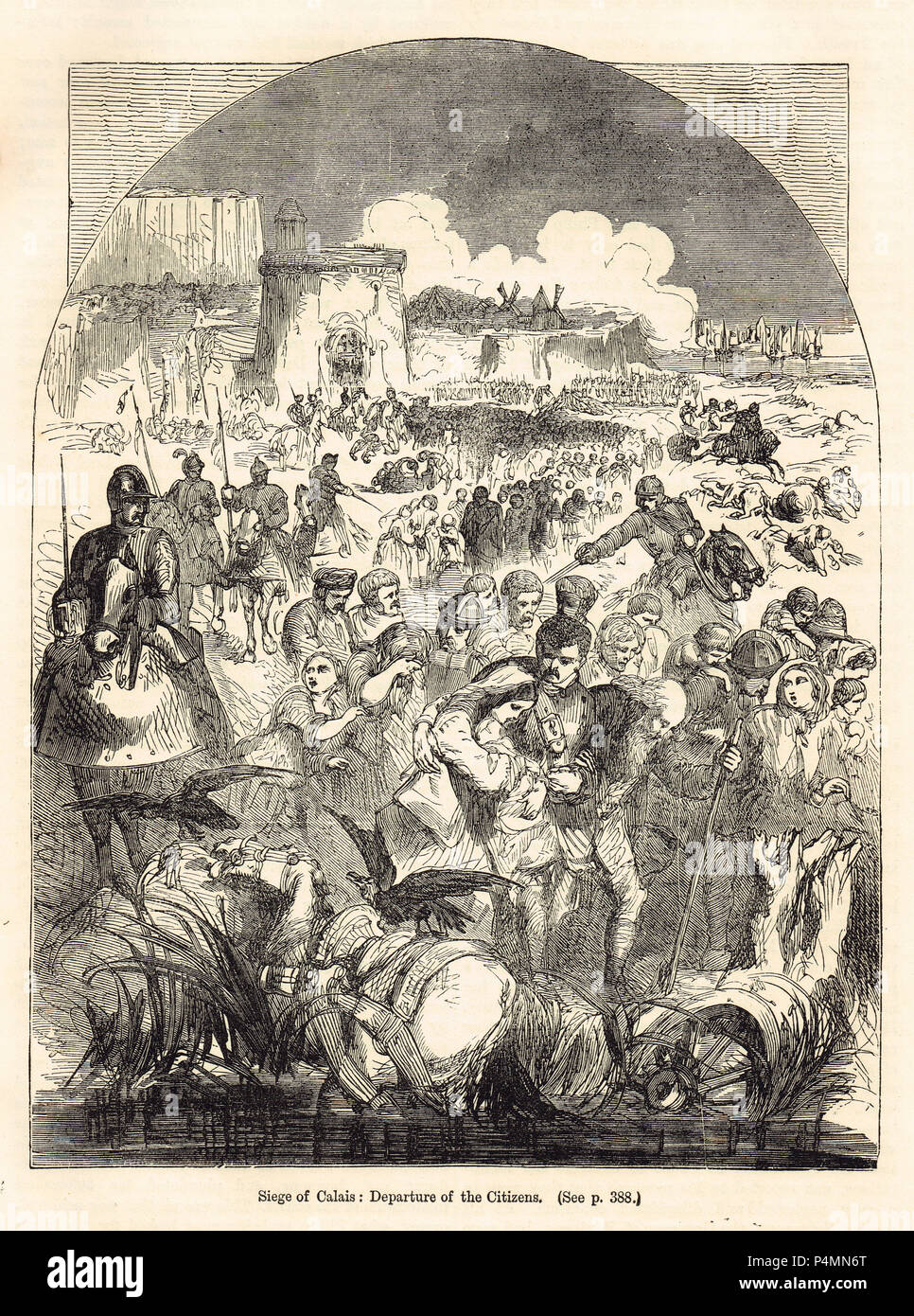 Die Belagerung von Calais, Abreise der Bürger, Januar 1558 Stockbild