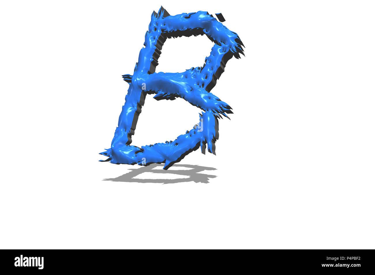 Großen blauen Buchstaben B in 3D auf weißem Hintergrund Stockbild