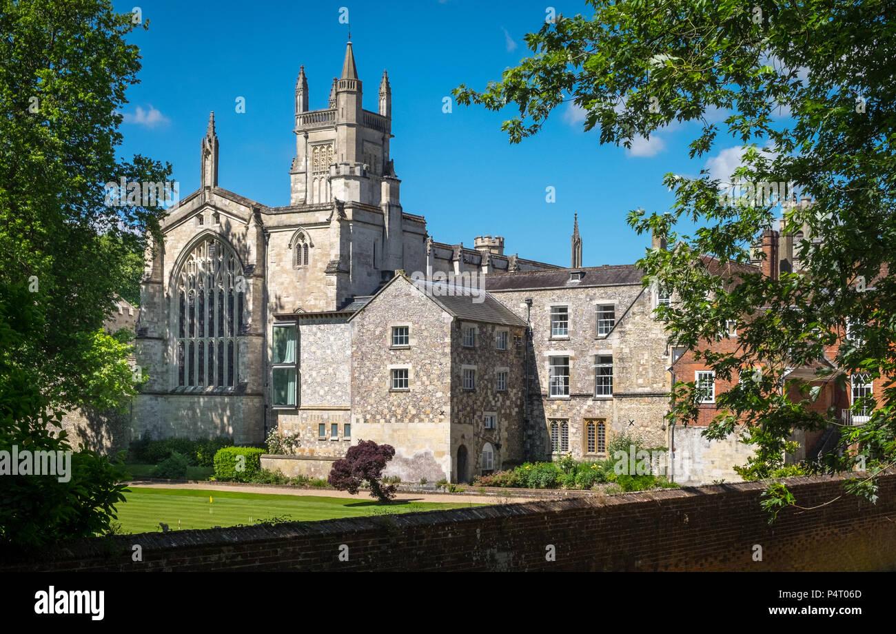 Winchester College, College Street, Winchester, England, Großbritannien Stockbild