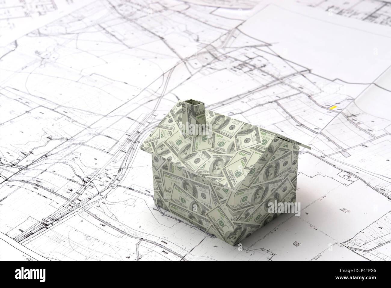 wenig 3d-karton haus modell um aufgewickelt mit amerikanischen