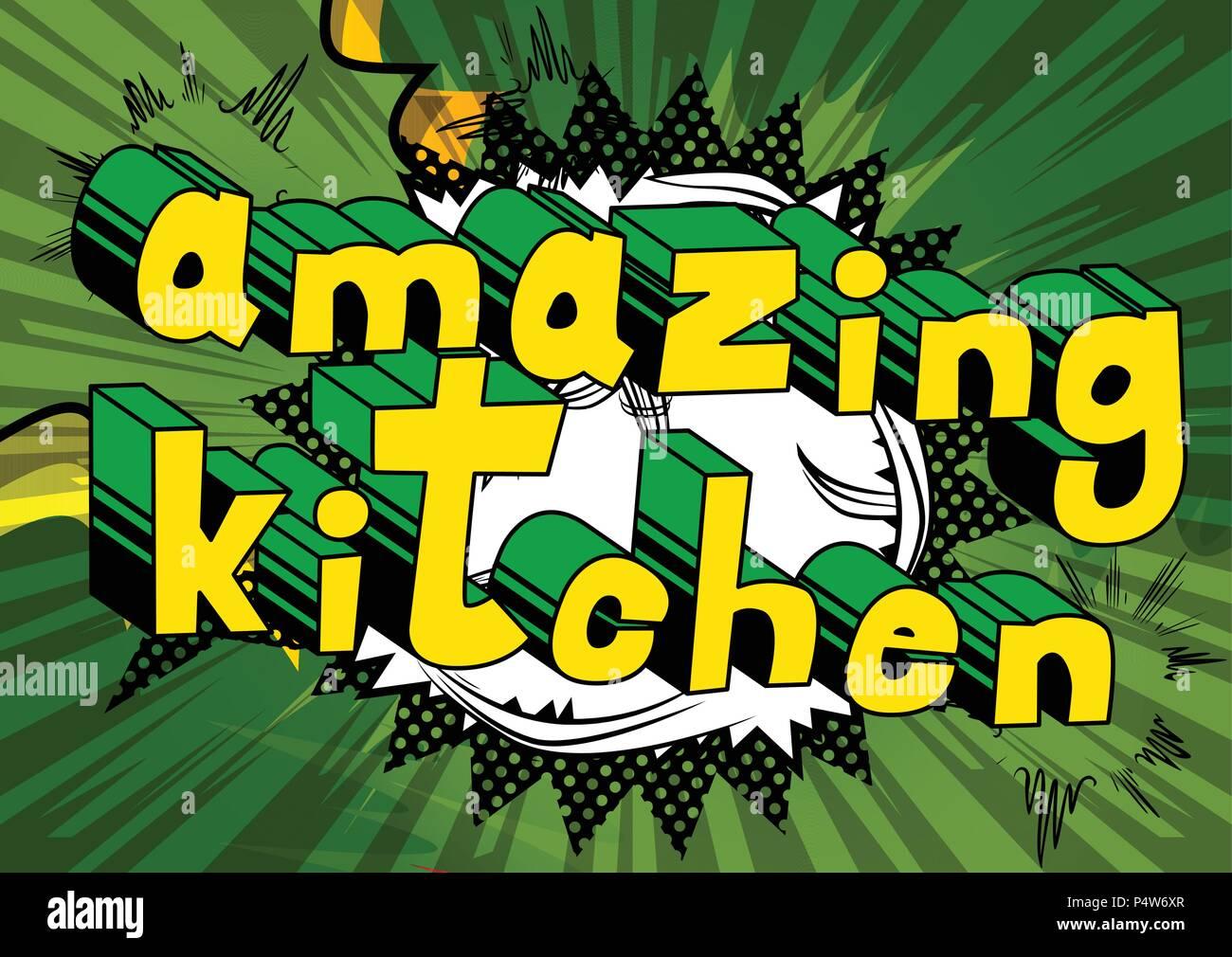 Super Kuche Comic Wort Auf Abstrakten Hintergrund Vektor Abbildung