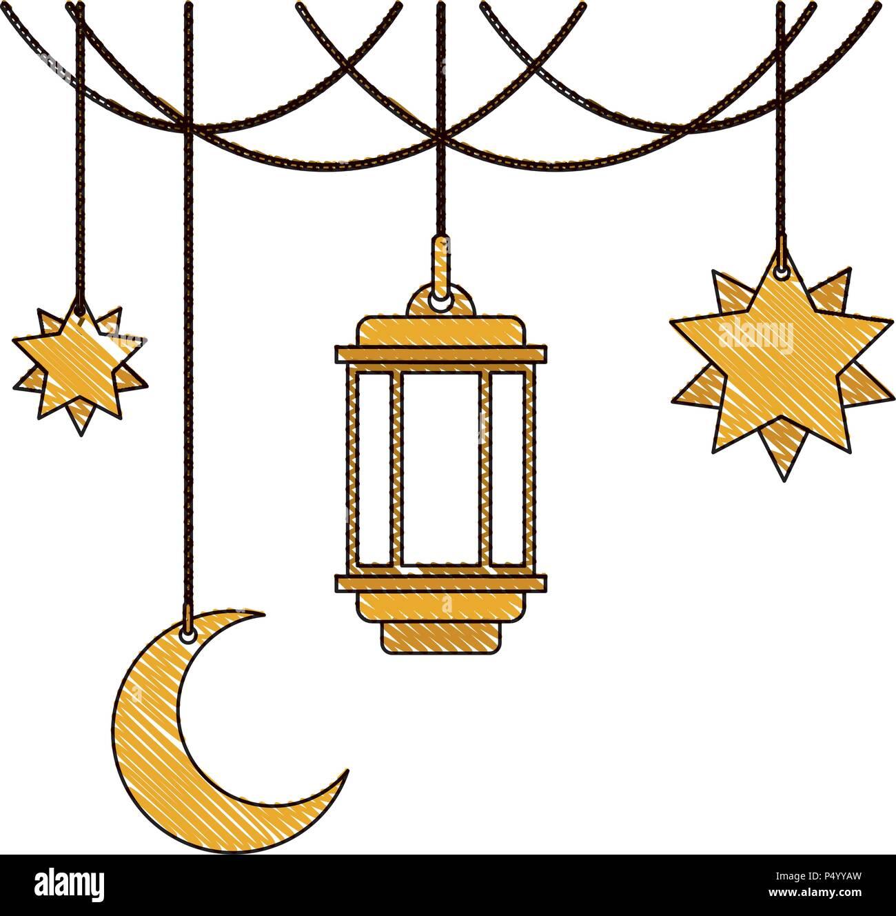 die traditionelle arabische lampe mit halbmond und sterne aufh ngen vektor abbildung bild. Black Bedroom Furniture Sets. Home Design Ideas
