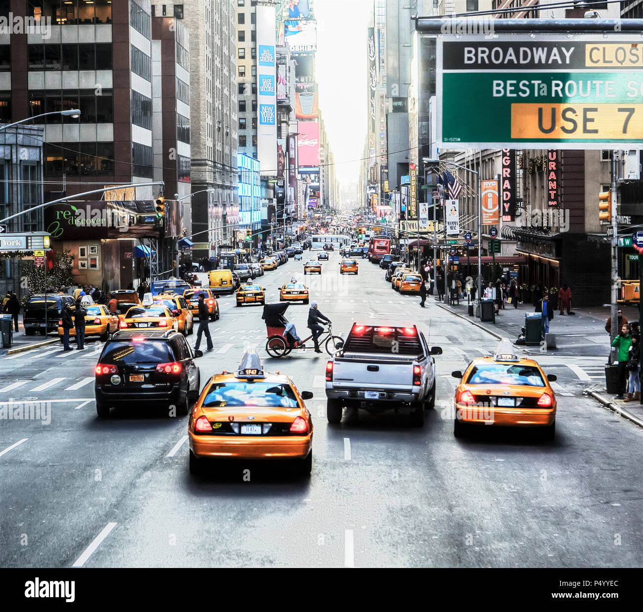 Straße in New York, Manhattan. Stockbild