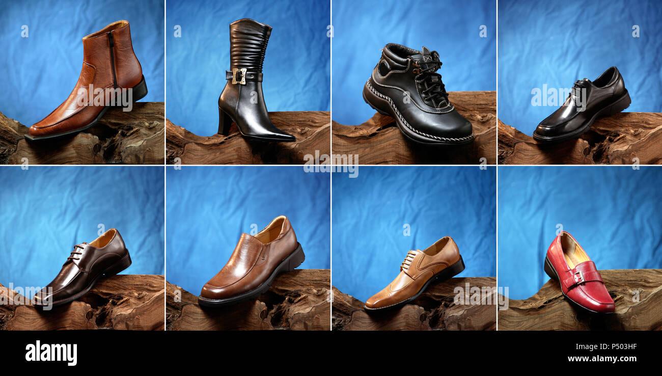 47e47aab2afd Nahaufnahme, verschiedene Arten von Schuhen Anordnung Stockbild