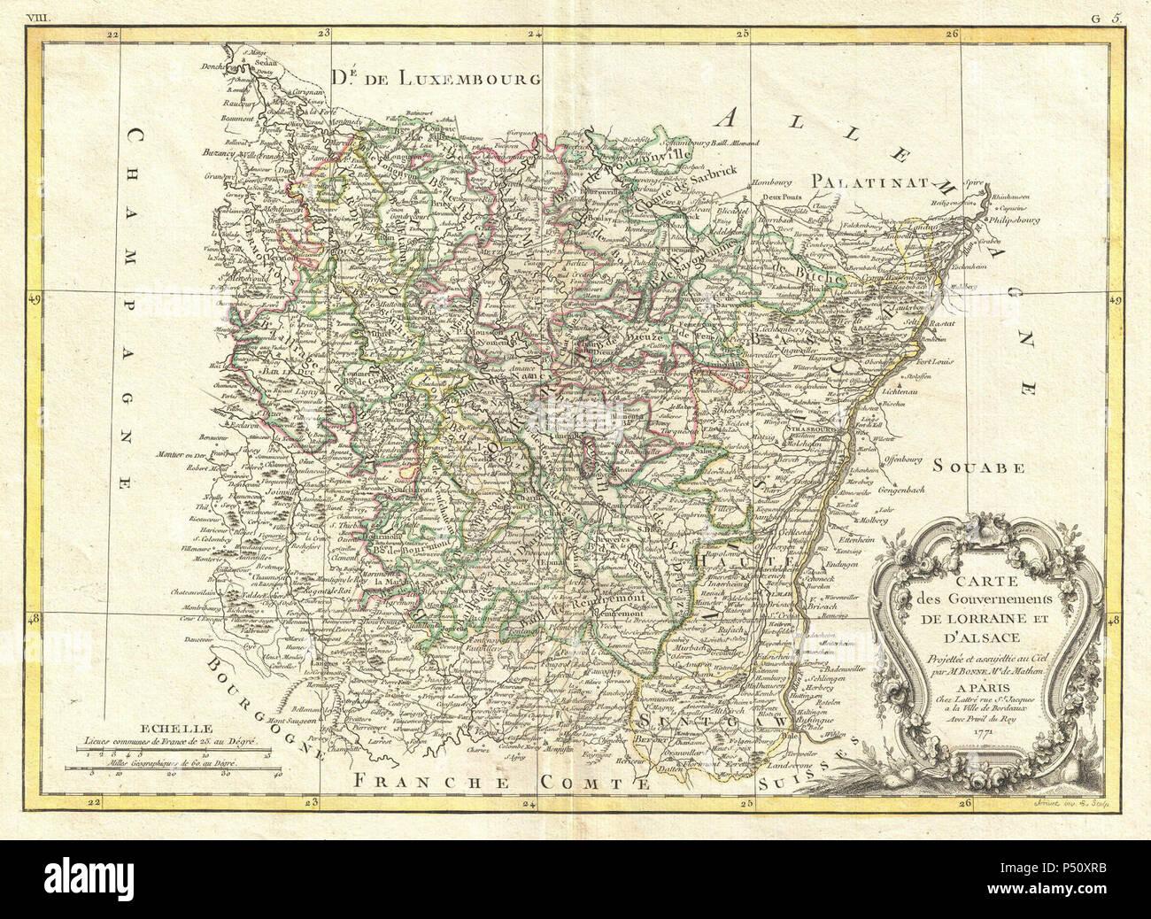 Elsass Karte Frankreich.1771 Bonne Karte Von Elsass Und Lothringen Frankreich