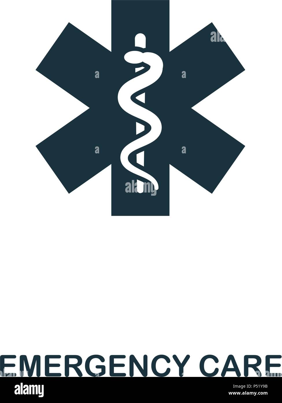 Emergency Care Symbol. Line Style Icon Design. UI. Abbildung: Emergency Care Symbol. Piktogramm isoliert auf Weiss. Fertig in web design, Anwendungen, Software, Druck verwenden. Stockbild