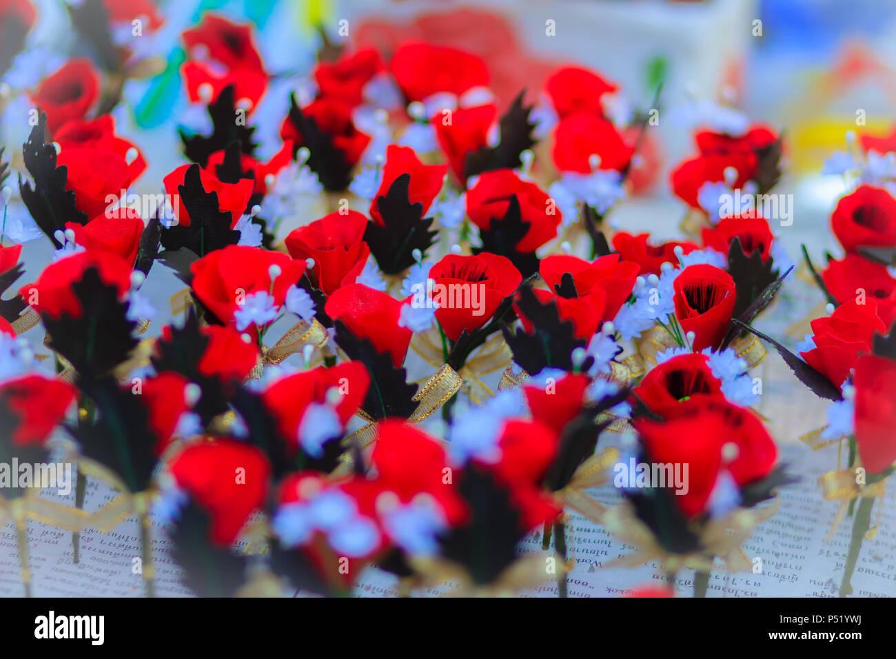 Schne Rote Knstliche Blume Poppy Flower Knstlich Ist Symbol Des