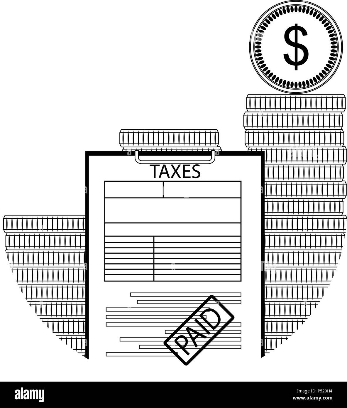 Gezahlte Steuer Line Art Besteuerung Cash Erklärung Erklärung