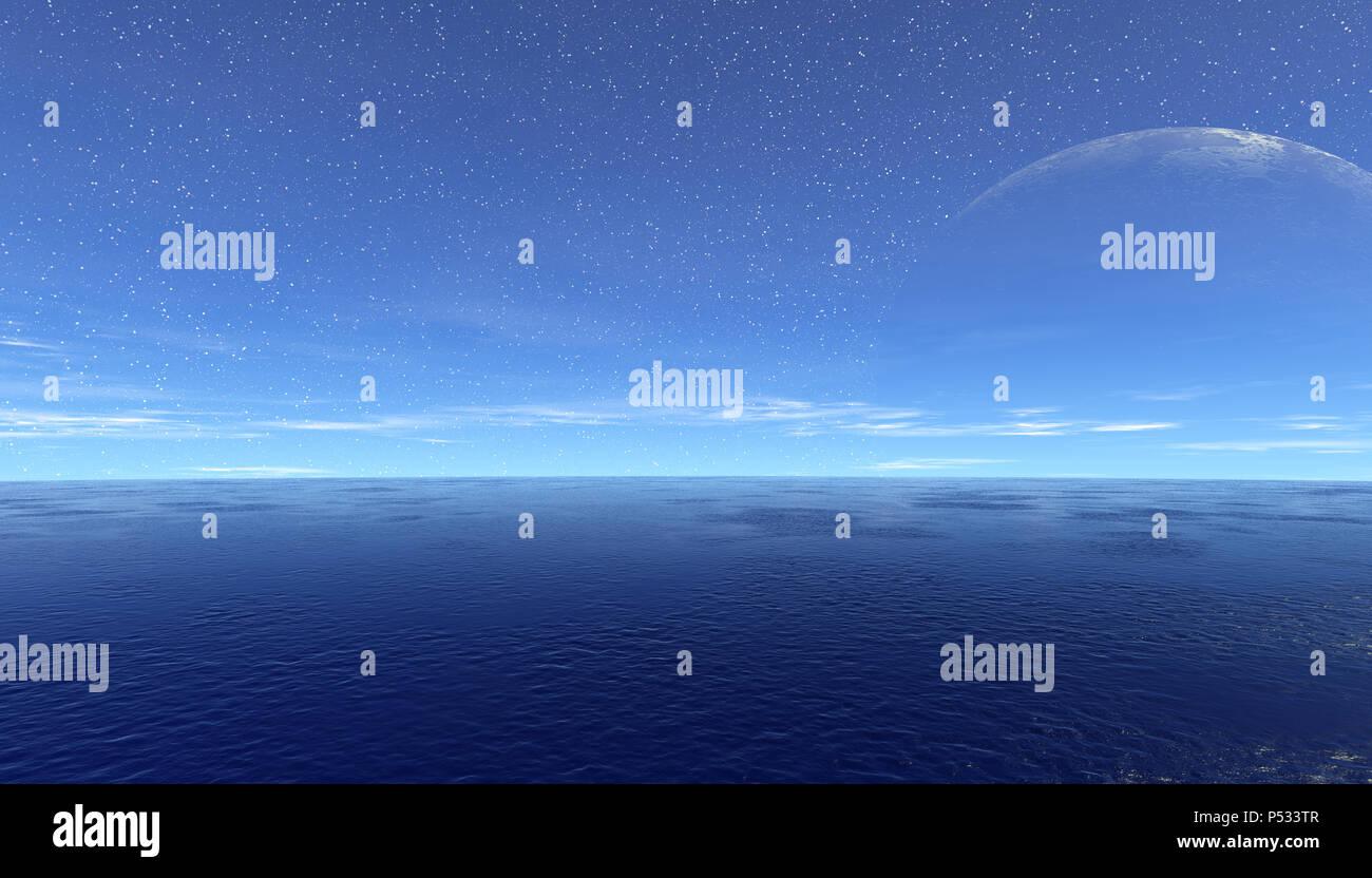 Fantasy fremden Planeten. Dämmerungen. Das Meer und auf den Mond. 3D-Darstellung Stockbild