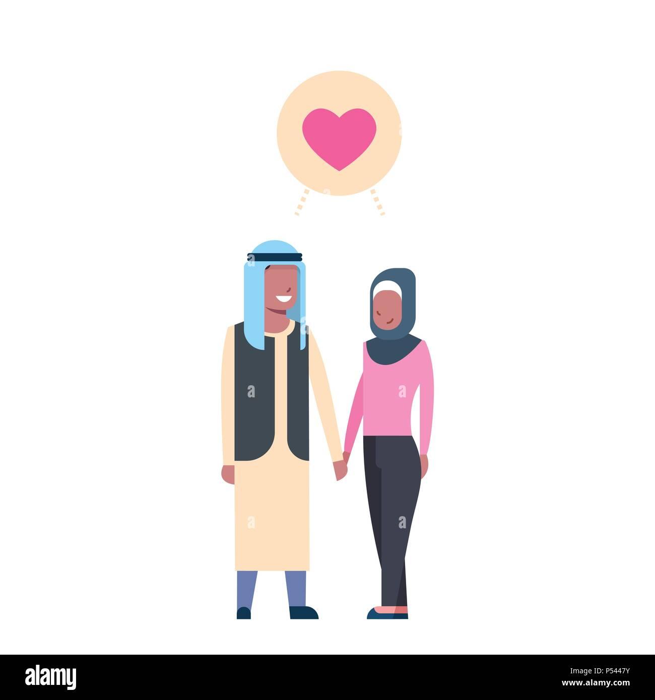 Arabische Paar in Liebe, volle Länge avatar auf weißem ...