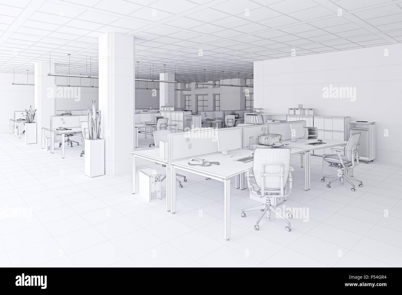 Moderne Buro Innen Mesh Skizze Stil 3d Rendering Konzept Stockfoto