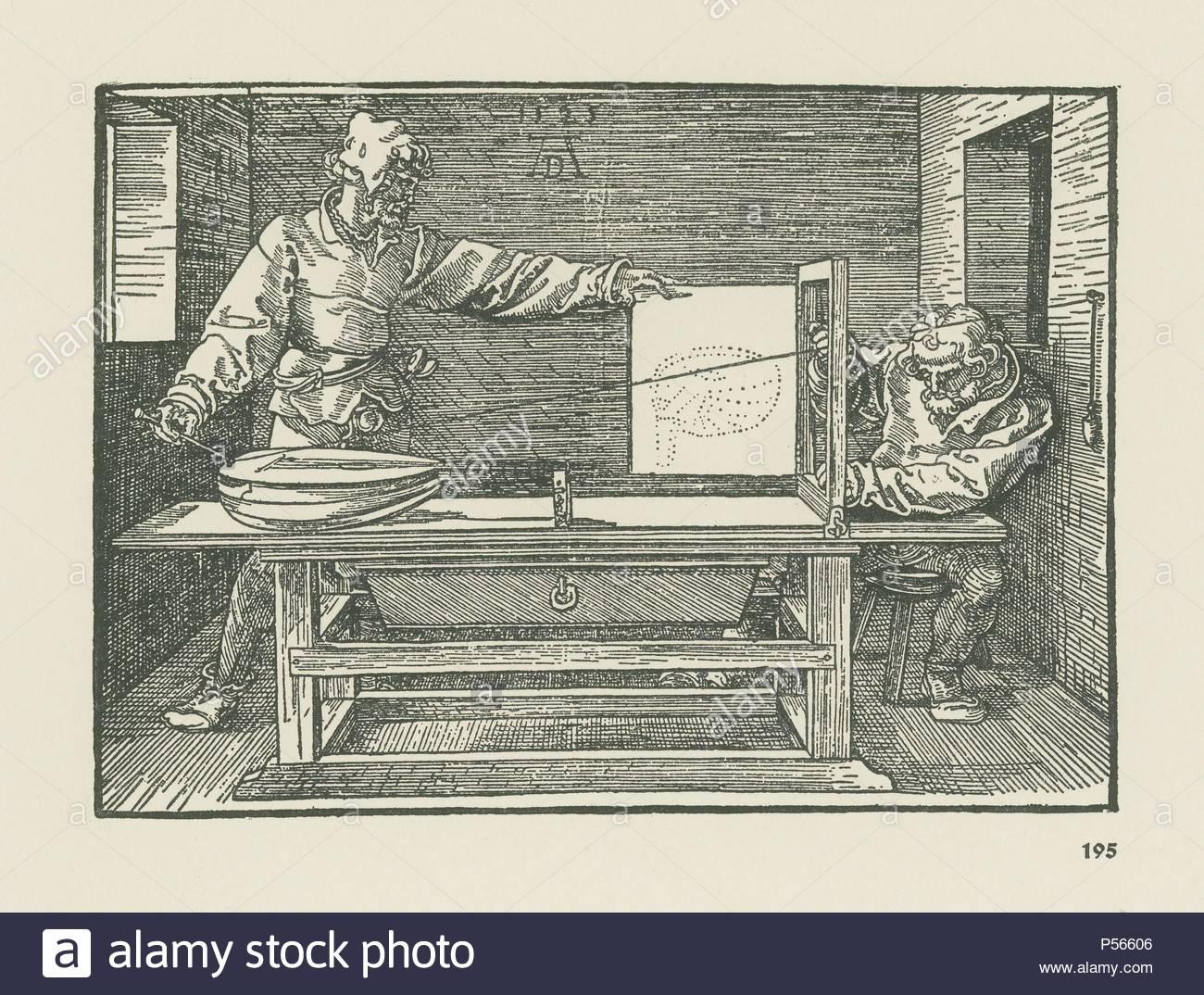 """Ein Mann eine Laute. Llustration von Albrecht Dürer's Abhandlung über die Kunst der Messung (""""Vnderweysung der Messung'), erste Ausgabe von Hieronymus Andreae, Nürnberg, 1525 veröffentlicht. Holzschnitt, 132 x 182 mm. (Fol. Q 3 r). Autor: Albrecht Dürer (1471-1528). Stockbild"""