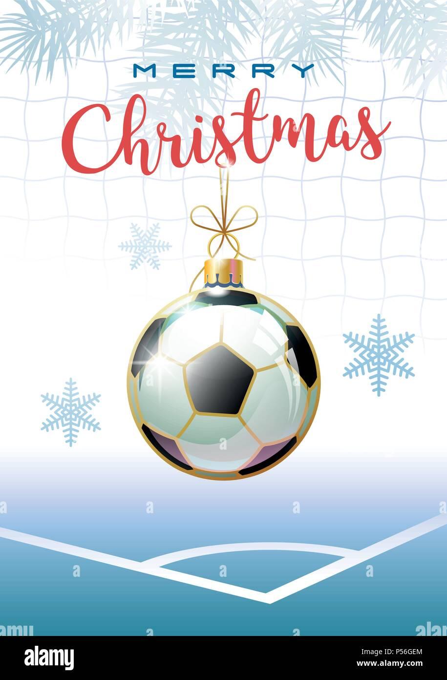 Frohe Weihnachten Sport Grusskarte Realistische Fussball In