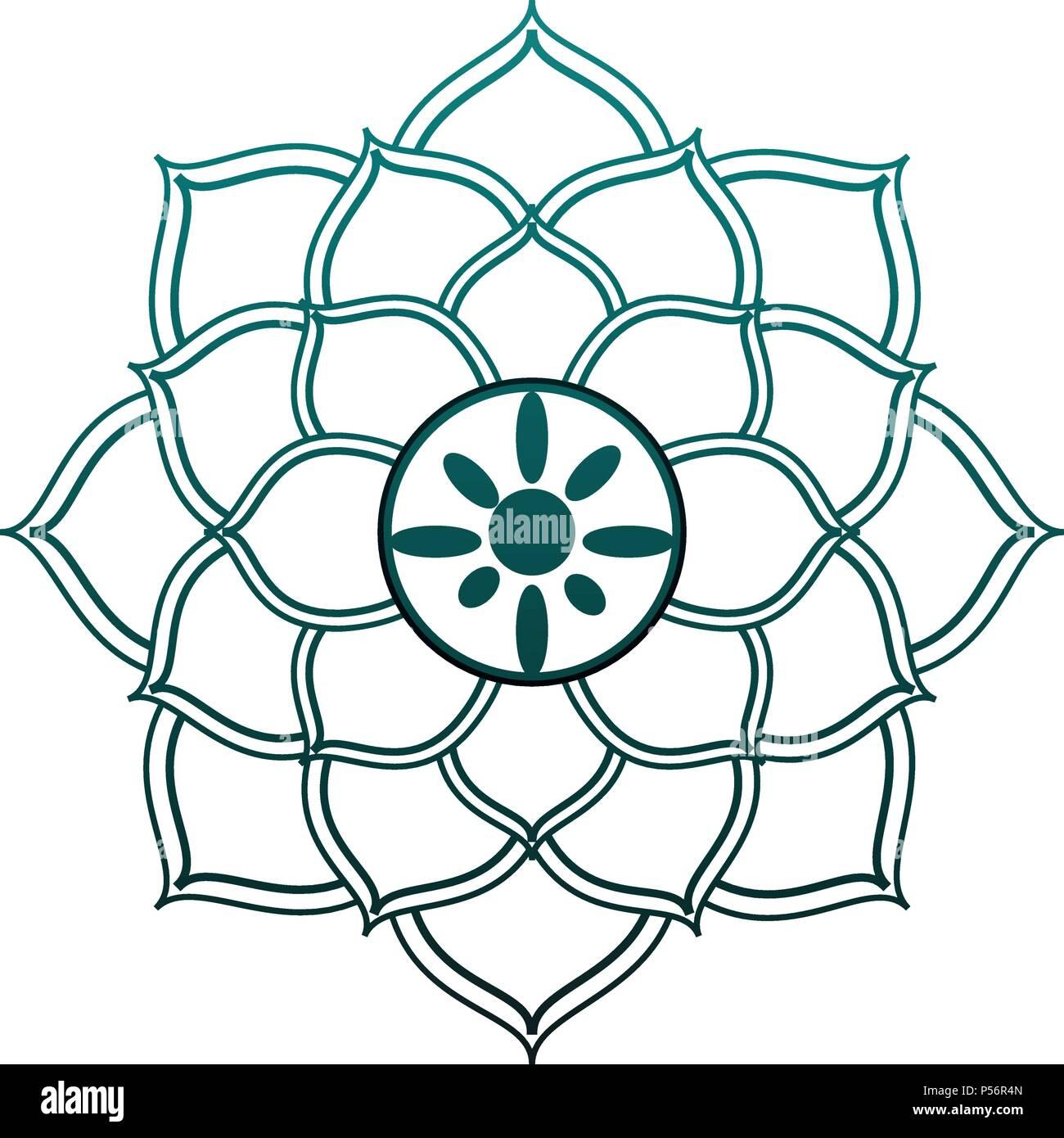 Mandalas Indische Emblem In Blaue Linien Vektor Abbildung Bild