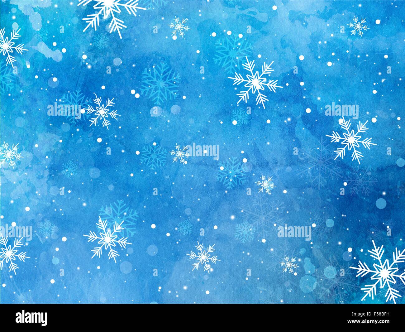 Weihnachten Schneeflocken auf einem Aquarell Textur Hintergrund ...