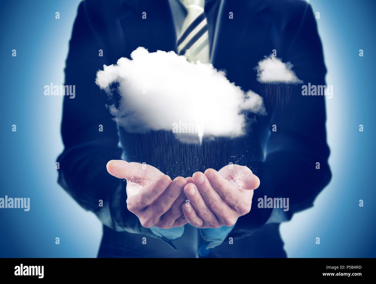 Wirtschaft und nachhaltigen Konzept. Geschäftsmann mit einem regnerischen Cloud Stockbild