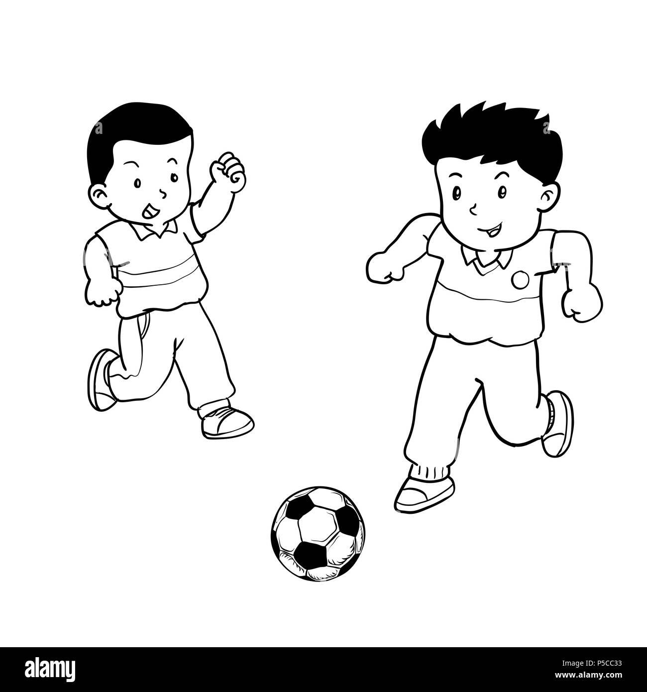 Hand gezeichneten Jungen Fußball spielen, Kinder spielen Fußball ...