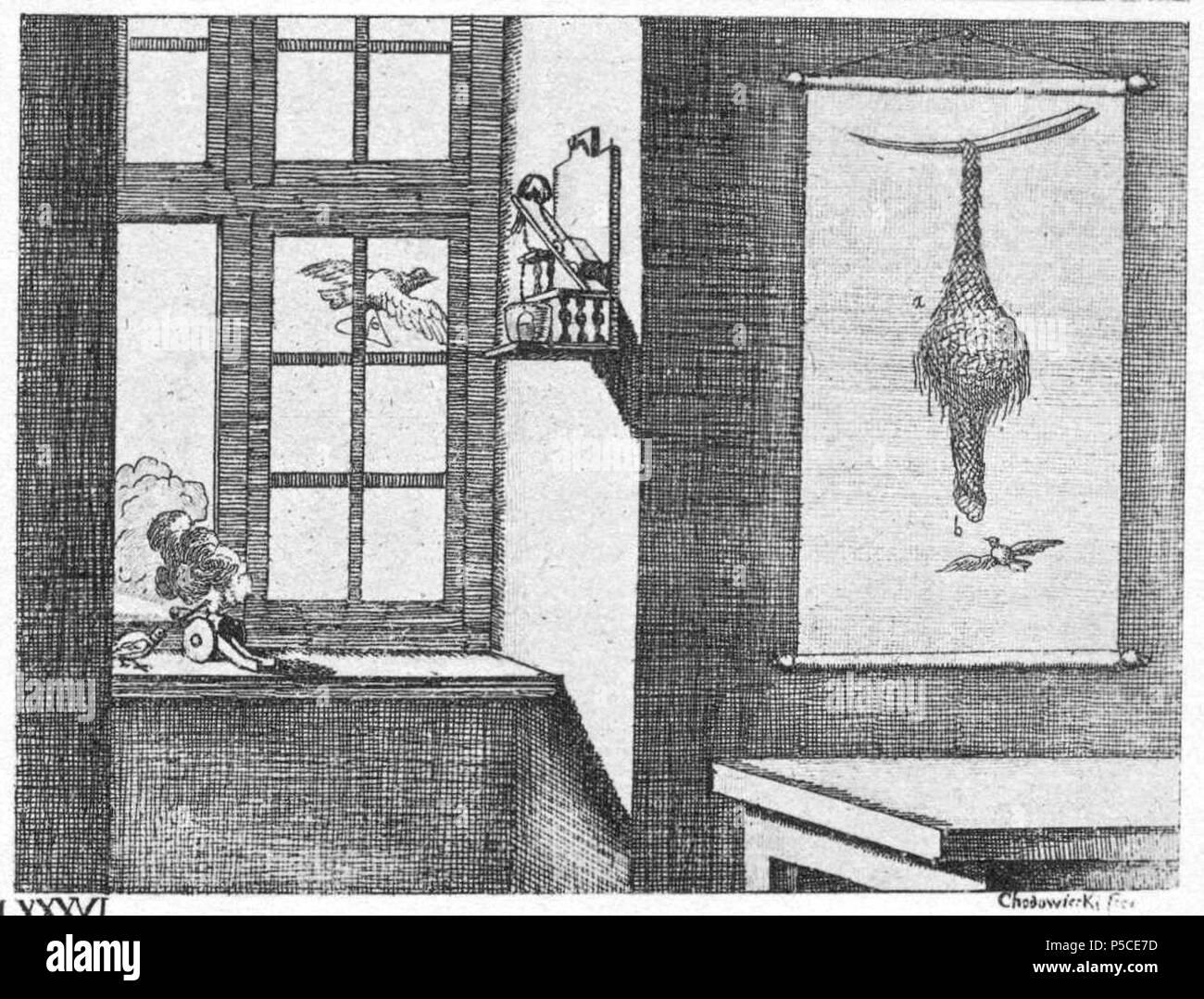 N/A. Registerkarte. LXXXVI. Geschicklichkeit der Tiere. d) Der Kanarienvogel, ein konstabel. Taube stirbt, ist länger tot Briefträgerin. Ein Stieglitz,-Freßkasten ziehend. Das Nest des Pendolino, wie eine Korbflasche mit zwei Hälsen. (Beschreibung Lt. Quelle). 1774. Daniel Chodowiecki (1726 - 1801) Alternative Namen Daniel Nikolaus Chodowiecki Beschreibung deutsch-polnischen Maler und Graphiker Geburtsdatum / Tod 16. Oktober 1726 vom 7. Februar 1801 Ort der Geburt / Todes Gdask Berlin Standort Berlin Authority control: Q 696720 VIAF: 59092320 ISNI: 0000 0001 2134 8231 ULAN: 500014861 50038187 LCCN: n Stockbild