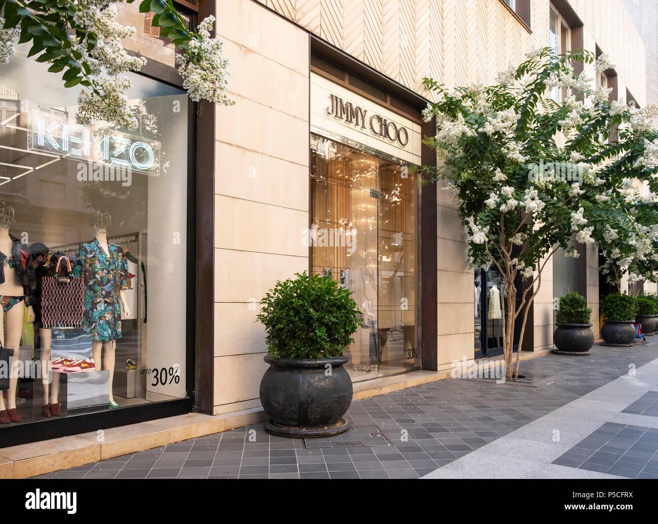 luxus mode boutiquen auf modischen street in der innenstadt von beirut libanon