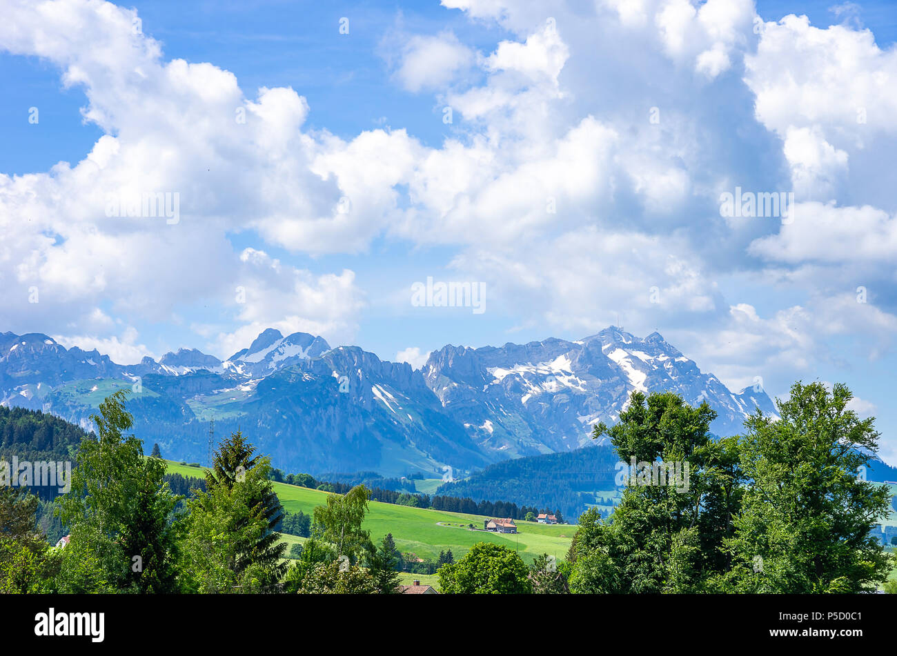 Blick auf Säntis in den Schweizer Alpen, Schweiz. Stockfoto