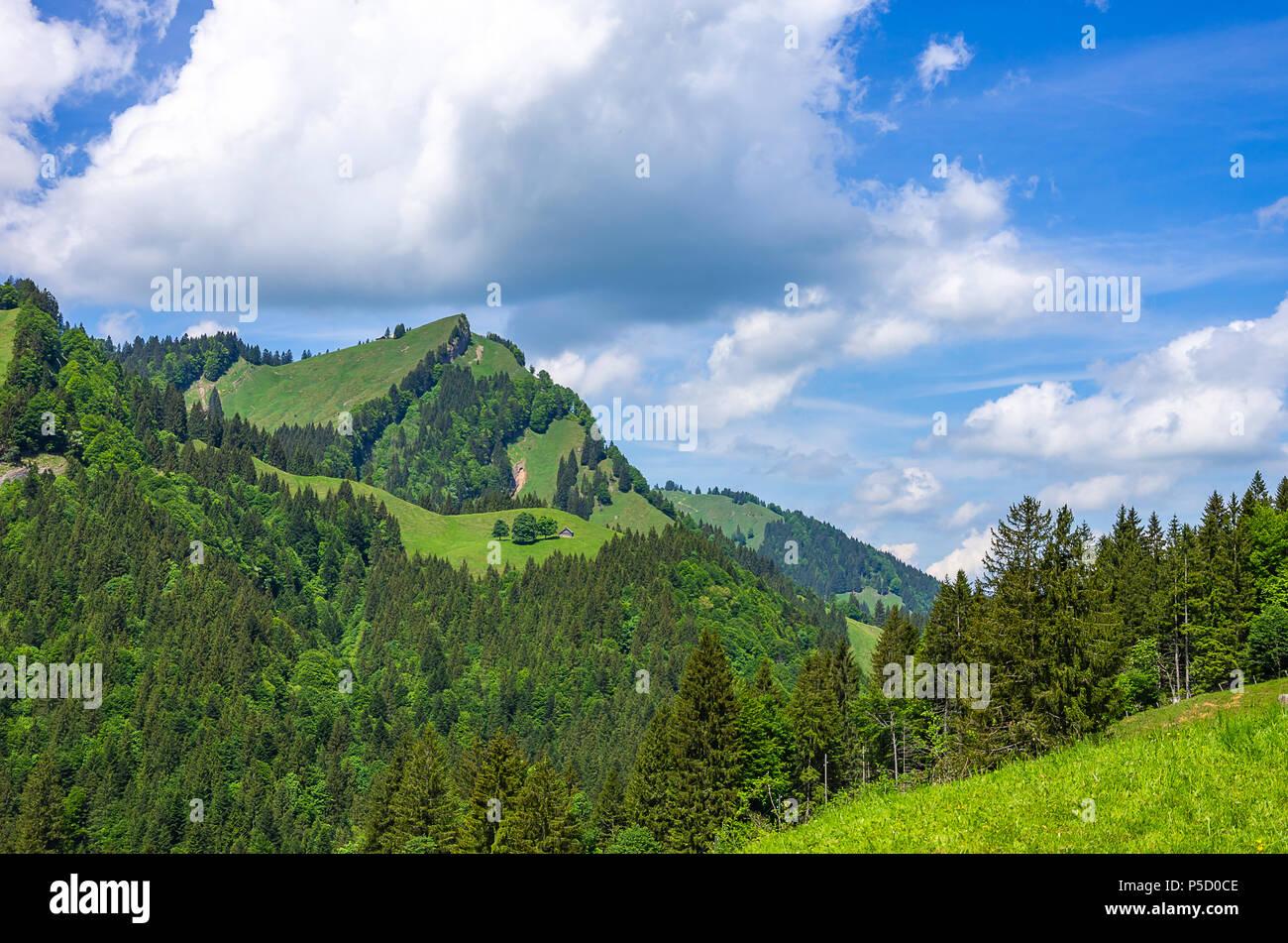 Berglandschaft in den Schweizer Alpen in der Nähe von Urnäsch und Schwägalp, Kanton Appenzell Ausserrhoden, Schweiz. Stockfoto