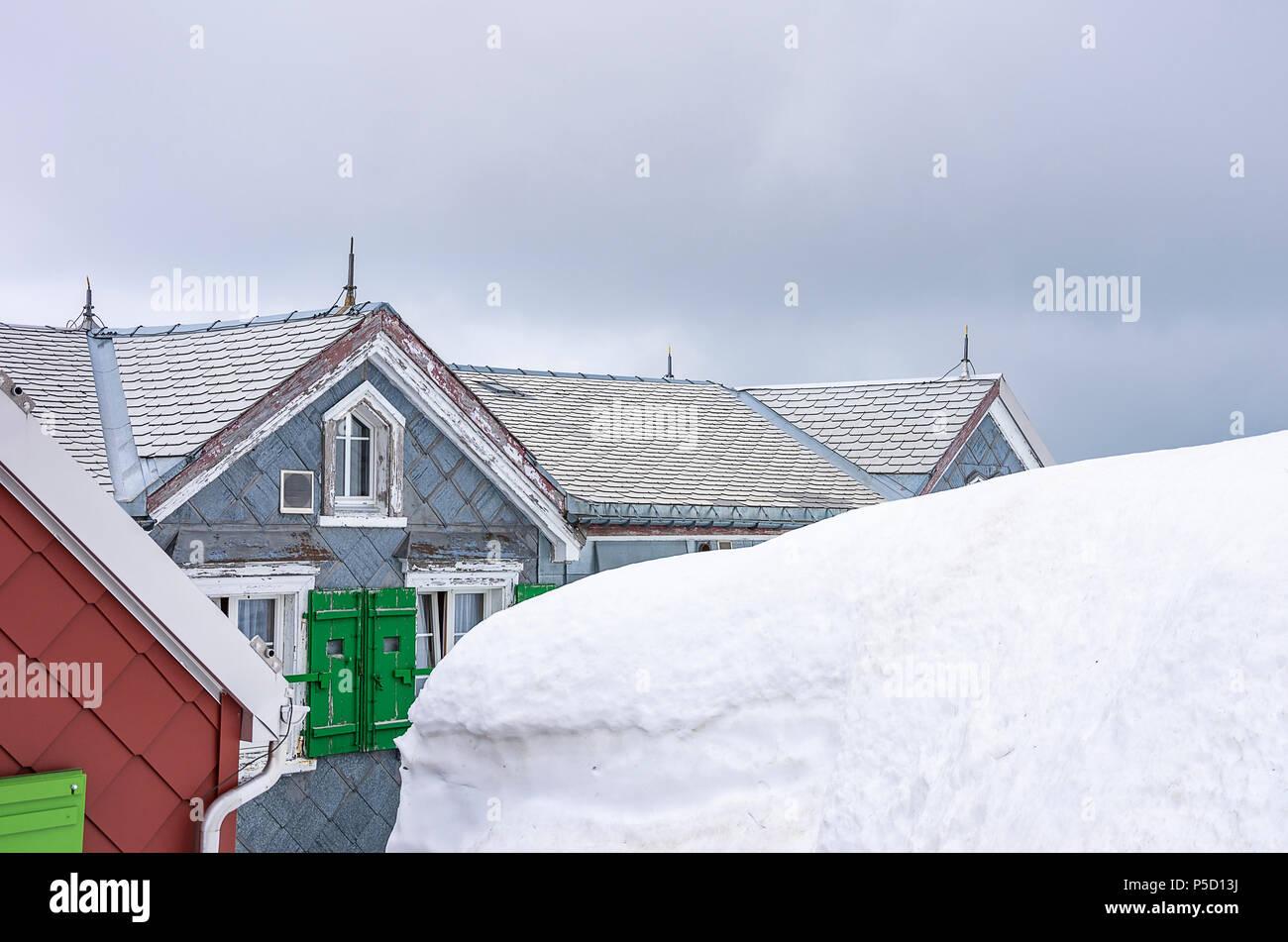 Auf dem Gipfel des Säntis, Appenzell Alpen, Schweiz - Mountain Inn ALTER SÄNTIS. Stockfoto