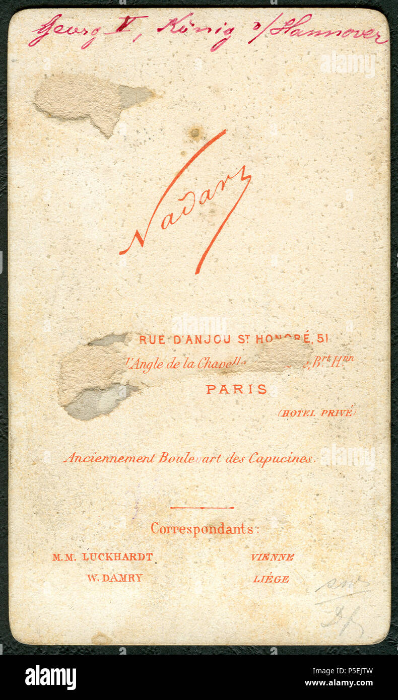 30 1874 Carte De Visite Georg V Konig Von Hannover Roi Krawallbruder T Nadar Adressseite Correspondant MM Luckhardt