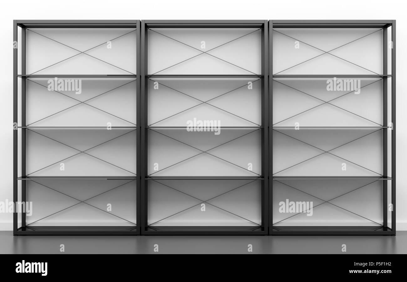 Schwarz Buro Regale Vor Der Weissen Wand 3d Darstellung Stockfoto