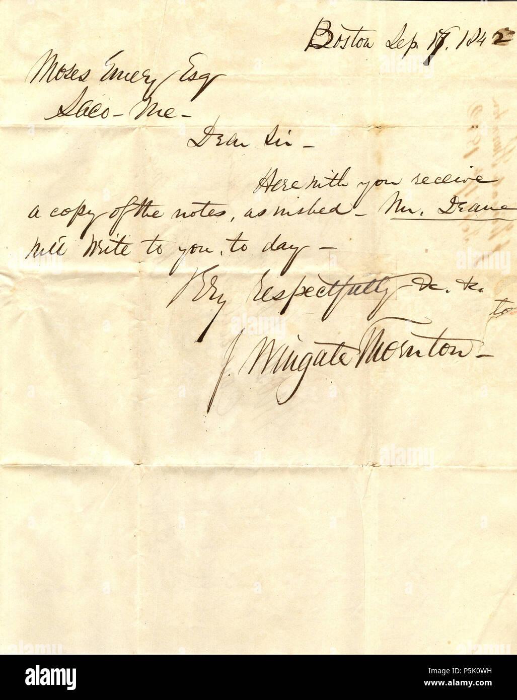Na Englisch Schreiben Vom 17 September 1842 Geschrieben Von John