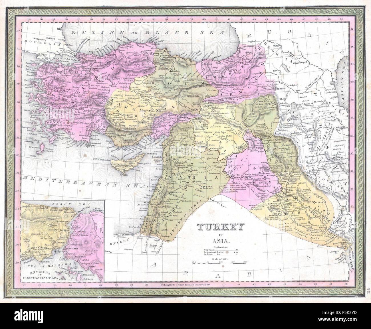 Syrien Irak Karte.1849 Mitchell Karte Der Türkei Irak Syrien Palästina