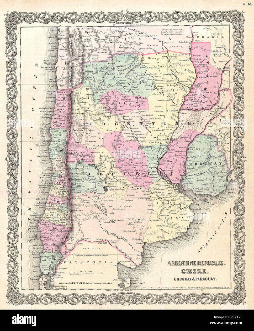Aconcagua Karte Argentinien.1855 Colton Map Of Argentina Stockfotos 1855 Colton Map Of