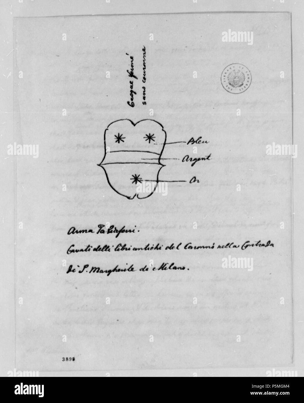 Na Englisch Brief An Thomas Jefferson Mit Informationen über Die