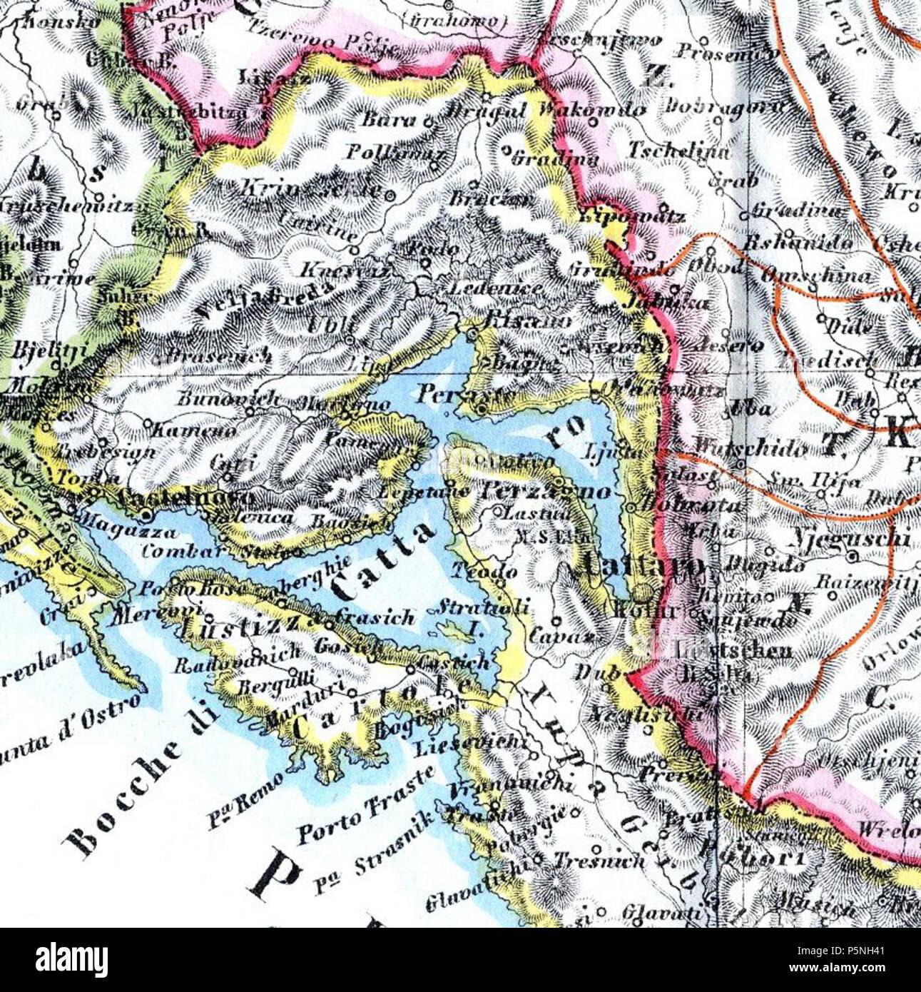 Kotor Montenegro Karte.N A Englisch Karte Von Der Bucht Von Kotor Im Jahre 1862