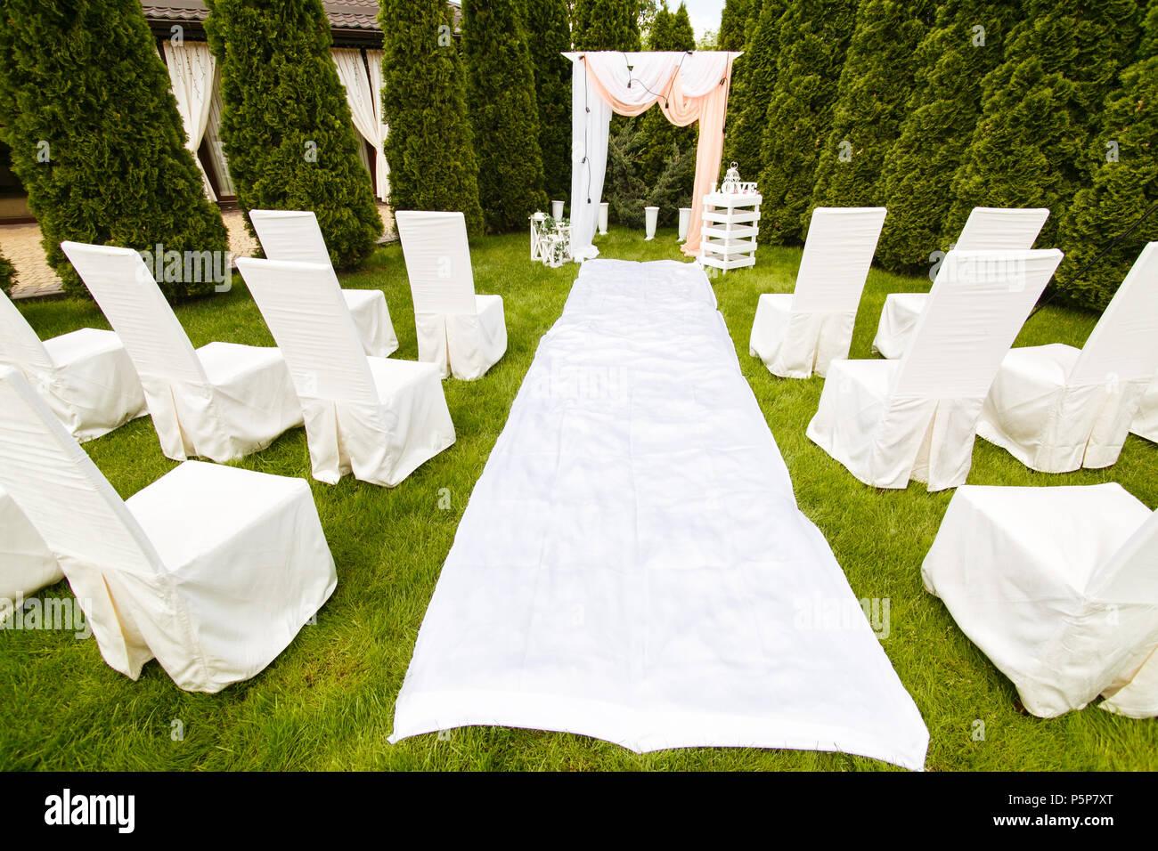 Hochzeit Bogen Mit Tuch Im Freien Eingerichtet Schone Hochzeit